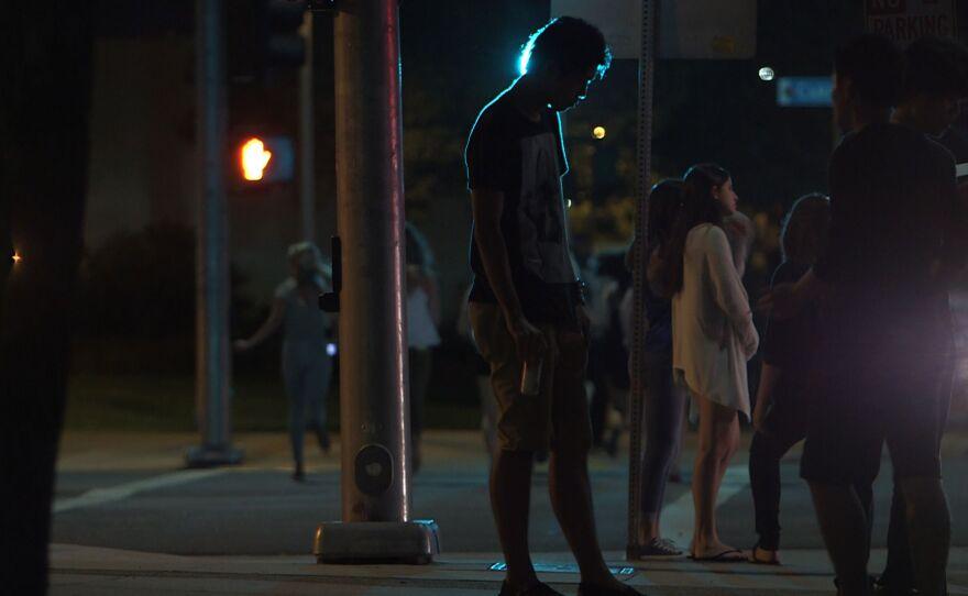 Students wander the streets around SDSU, Aug 22, 2014