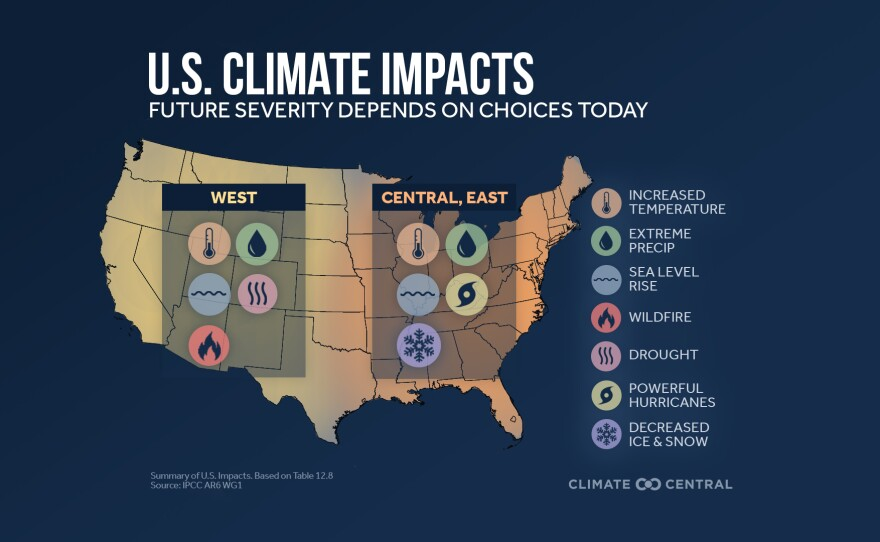 Impacts from a changing climate in this undated graphic