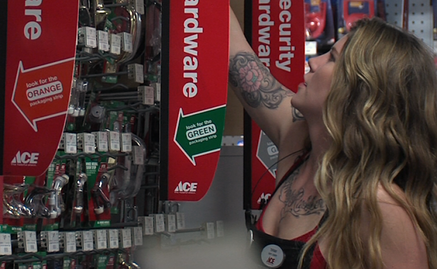Tiffany Stephens helps a customer at her job at Ace Hardware in downtown San Diego, April 26, 2016.