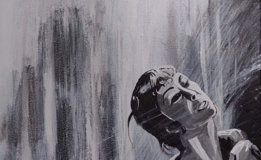 """This """"Psycho"""" inspired painting by CJ Martinez glows in the dark."""