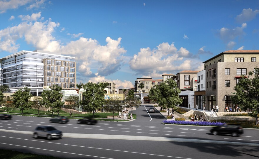 An artist's rendering of an office tower in the proposed One Paseo project in Carmel Valley shows how it would be built on a lower-lying area on the east side of the property.