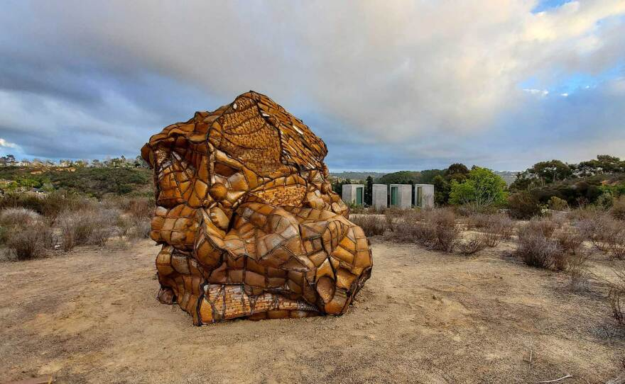 """Los Angeles-based artist Beatriz Cortez is the upcoming artist-in-residence at Lux Art Institute. The accompanying outdoor installations feature her sculpture, """"Glacial Erratic,"""" with more works added throughout the next two months."""