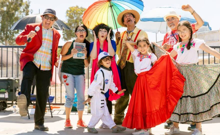Juan Felipe Herrera and his former students performing for an ACTAVANDO Contra COVID event at the Madera Flea Market on June 13, 2021.