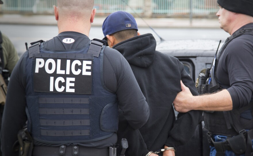 Agents from U.S. Immigration and Customs Enforcement in Los Angeles arrest foreign nationals on Feb. 7, 2017.
