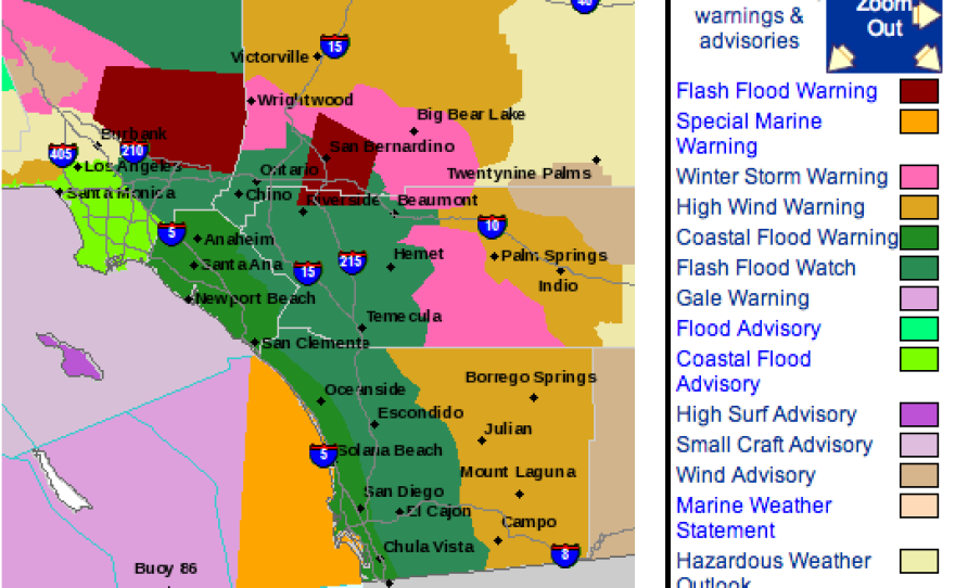 This screen grab of the National Weather Service map dated Feb. 28, 2014 shows areas in maroon that are under a flash flood warning.