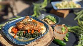 Pan-seared chicken displayed at One Door North in North Park during Restaurant Week kick-off event, Sept. 23, 2021.