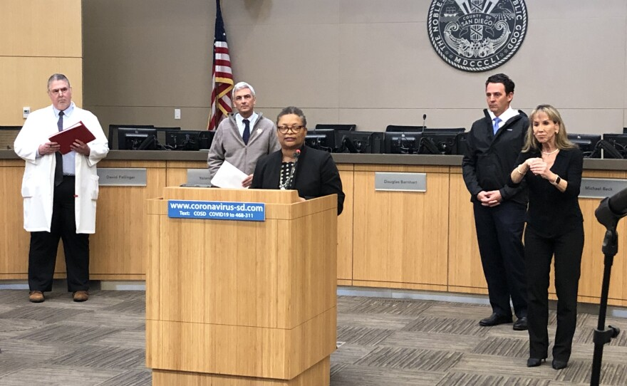 San Diego County Public Health Officer Dr. Wilma Wooten gives an update on coronavirus, March 18, 2020.