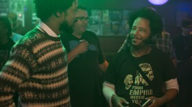"""Actor Lakeith Stanfield with director Boots Riley on the set of """"Sorry to Bother You."""""""