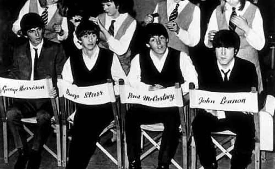 """The Beatles on the set of """"A Hard Day's Night."""""""