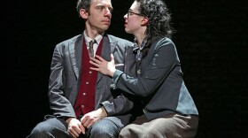 """Max Gordon Moore as Sholem Asch and Adina Verson as Madje Asch in """"Indecent,"""" a new play by Paula Vogel, co-created by Paula Vogel and Rebecca Taichman, and directed by Rebecca Taichman, at the Cort Theatre, 138 West 48th St. NY."""