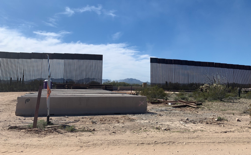 New border fence going up in Organ Pipe Cactus National Monument on Feb. 26, 2020.