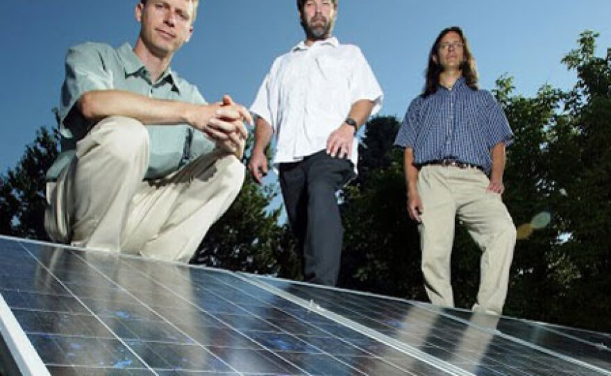 Colorado-based Namasté Solar co-founders in 2005. They started this award-winning cooperative with democratic decision-making and an entrepreneurial emphasis. From left: Blake Jones, Ray Tuomey, Wes Kennedy.