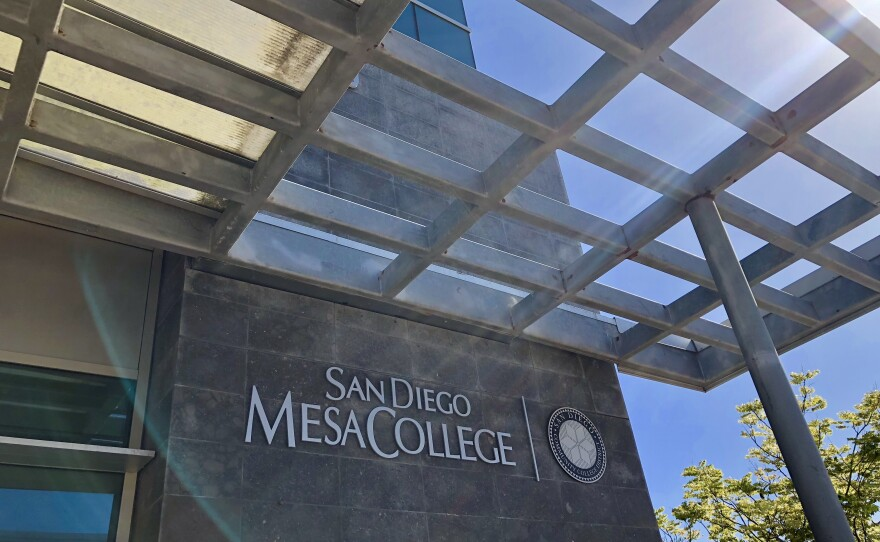 A San Diego Mesa College building is shown, May 16, 2018.