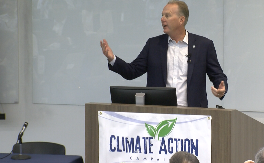 San Diego Mayor Kevin Faulconer speaks at a forum on community choice energy, Sept. 7, 2018.