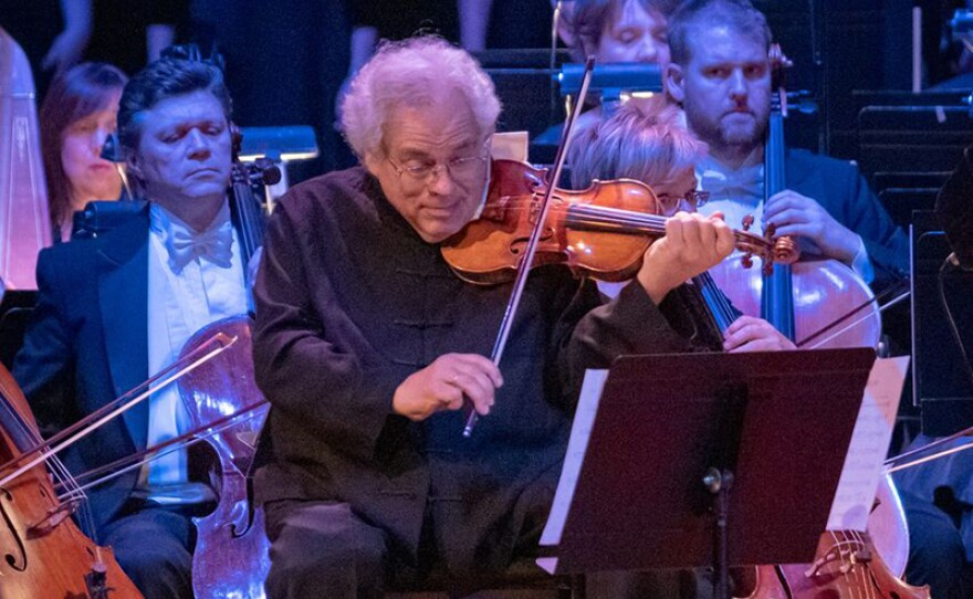 """Renowned Israeli-American violinist Itzhak Perlman performs during """"Tree Of Life: A Concert For Peace And Unity"""" with the Pittsburgh Symphony Orchestra at Heinz Hall in Pittsburgh. The concert airs Tuesday, Dec. 11, 2018 on PBS stations nationwide."""