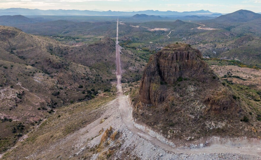 In the Guadalupe Canyon, in southeastern Arizona, work crews are dynamiting mountainsides and bulldozing access roads in this stunning landscape to make way for the border wall.