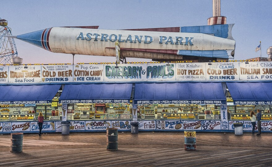"""A watercolor titled """"Astroland"""" by Frederick Brosen on view in the exhibit """"Coney Island: Visions of an American Dreamland,"""" at the San Diego Museum of Art."""