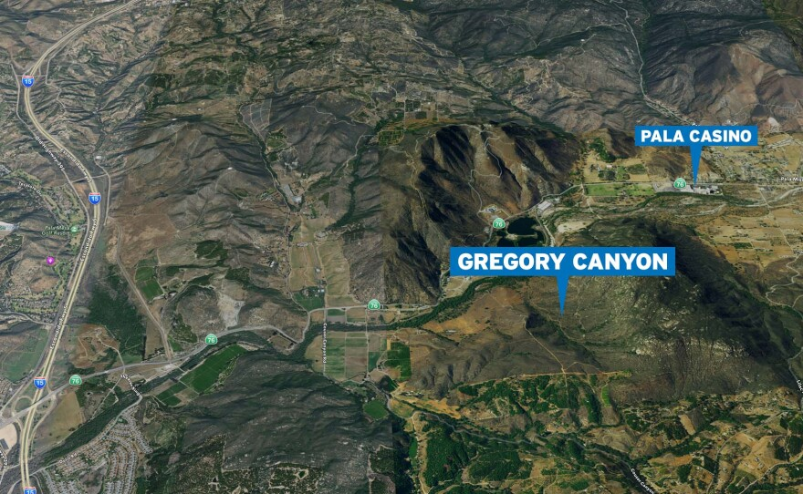 An aerial view of Gregory Canyon, Nov. 18, 2016.