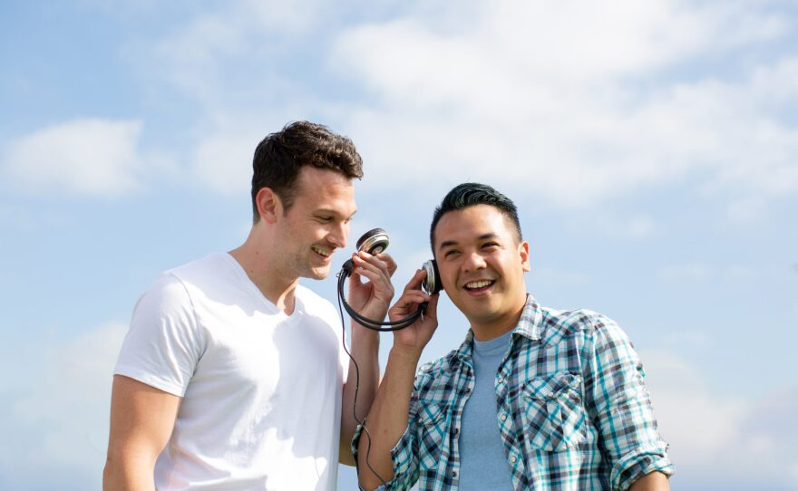 """It's 1993 and Mike (Michael Louis Cusimano) and Will (Shaun Tuazon) discover mixtapes are the language of love in the jukebox musical """"Girlfriend,"""" which opens Diversionary Theatre's 34th season."""