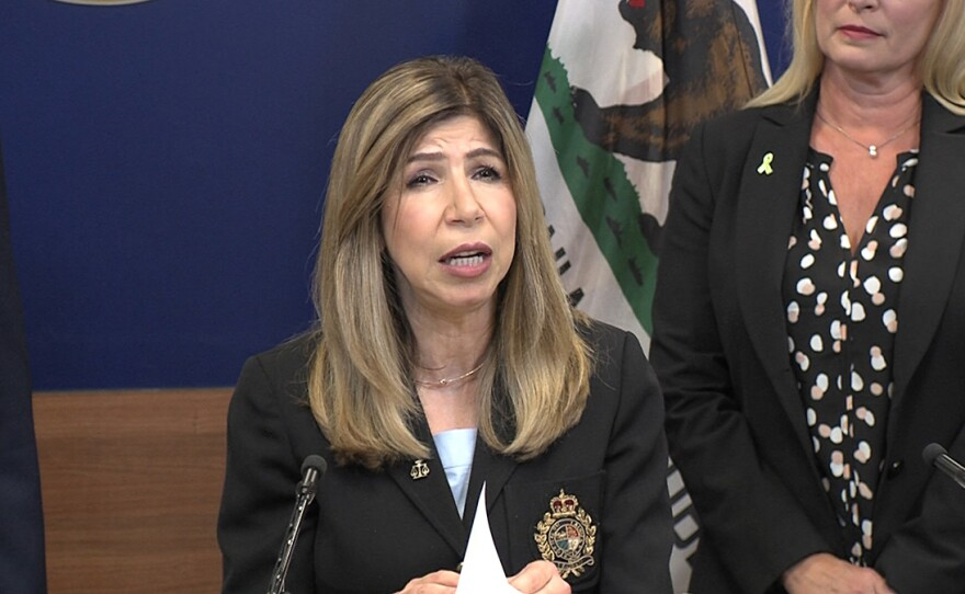 San Diego County District Attorney Summer Stephan speaks during a news conference at the Hall of Justice downtown, May 21, 2019.