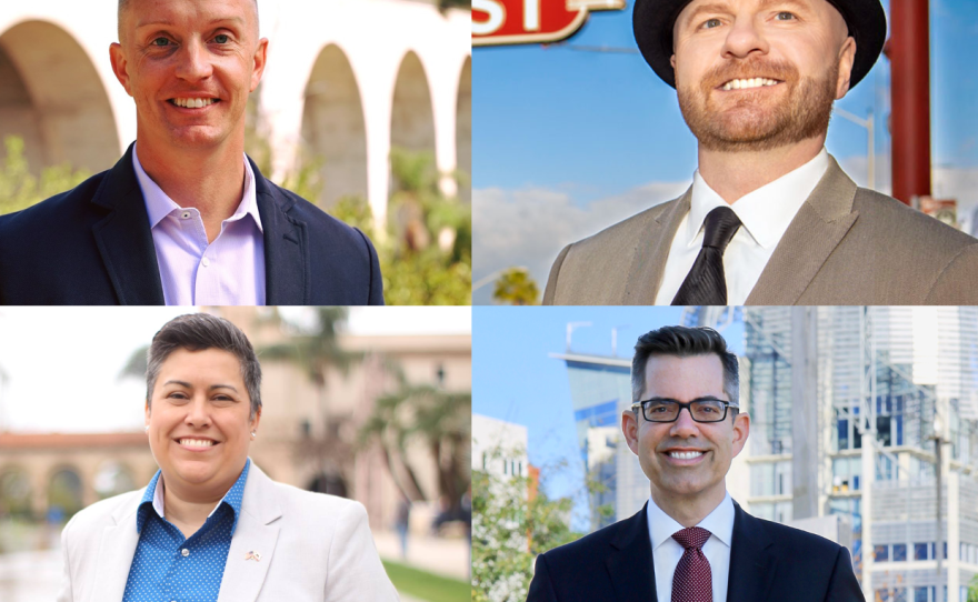 Clockwise from upper left: San Diego City Council District 3 candidates Chris Olsen, Adrian Kwiatkowski, Stephen Whitburn and Toni Duran are seen in campaign photos.