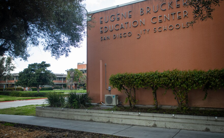 The San Diego Unified School District headquarters is shown on March 19, 2020.