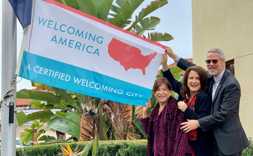 Chula Vista Mayor Mary Salas and City Councilwoman Jill Galvez and another official at the 'Welcoming City' flag-raising ceremony on Dec. 3, 2019.