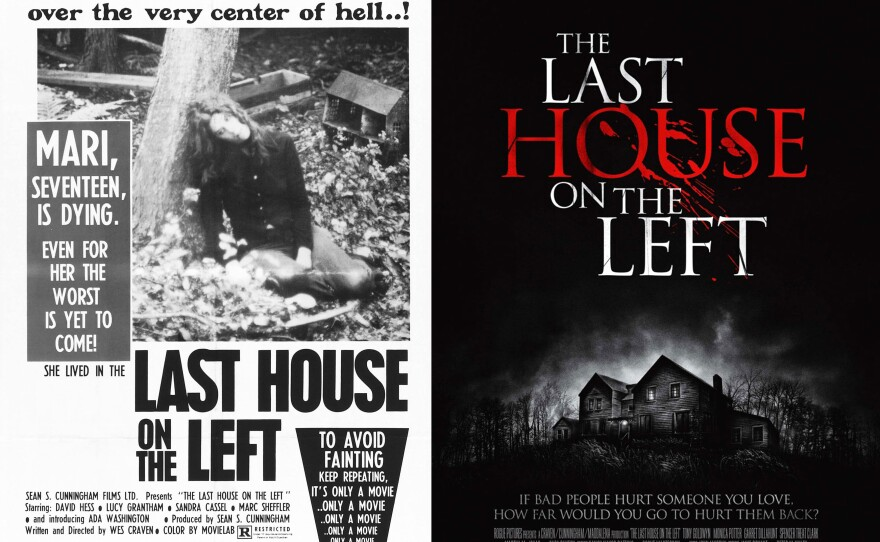 """Posters for """"The Last House on the Left,"""" 1972 and 2009."""