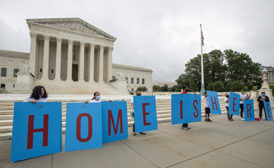 Deferred Action for Childhood Arrivals (DACA) students gather in front of the Supreme Court on Thursday, June 18, 2020, in Washington.