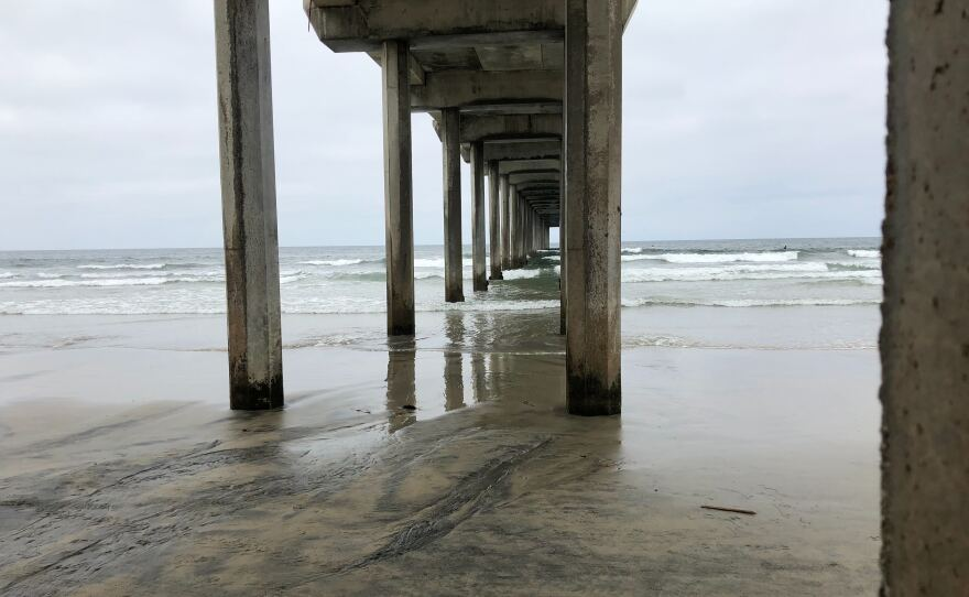 Scripps Pier, where the ocean temperature has been taken daily for more than 100 years, on Aug. 25, 2020