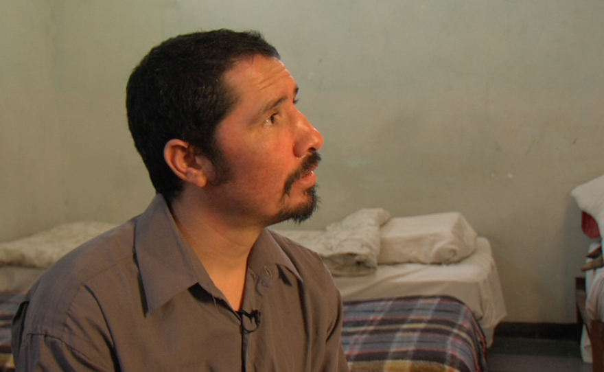 Misael Soto sits on his bed at the rehabilitation center DAR, May 1, 2015.