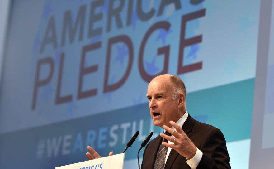 California Governor Jerry Brown speaks in the U.S. Climate Action Center at the COP 23 Fiji UN Climate Change Conference in Bonn, Germany, on Nov. 11, 2017.