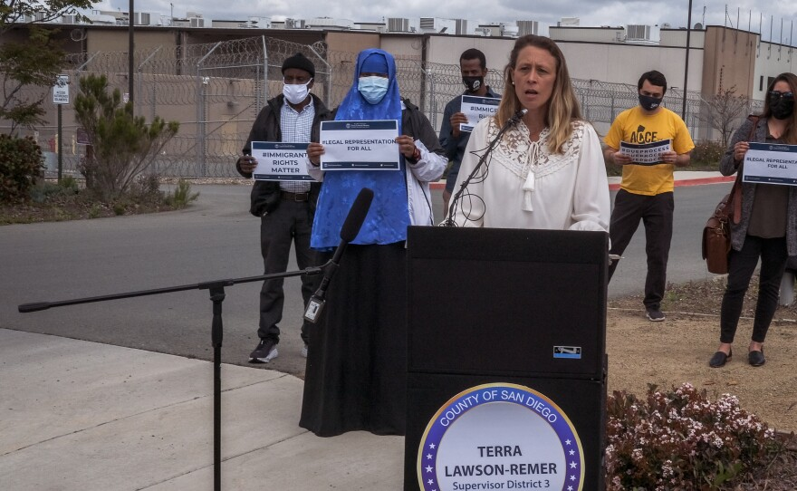 County Supervisor Terra Lawson-Remer speaks at a news conference outside the Otay Mesa Detention Center announcing the proposed Immigrant Rights Legal Defense Program, April 27, 2021.