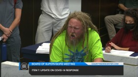 Matt Baker makes a public comment at the San Diego County Board of Supervisors' meeting in San Diego County, Calif. Aug. 18, 2021.