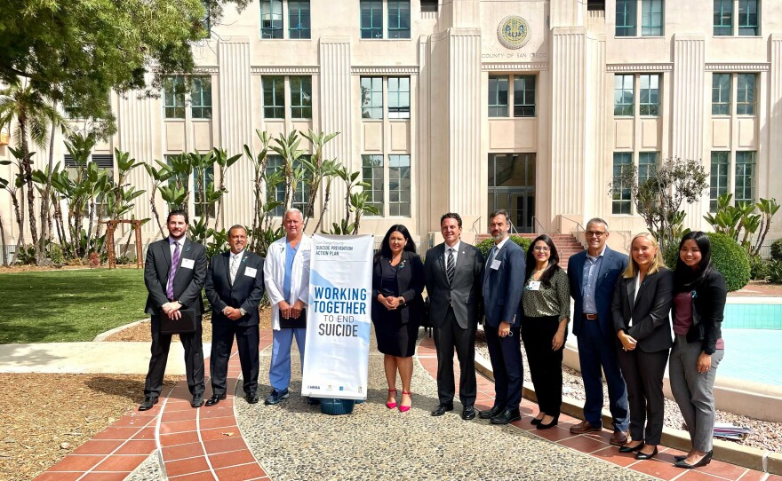 San Diego County Suicide Council and County Leaders are pictured outside the County Administration Center on September 8, 2021.