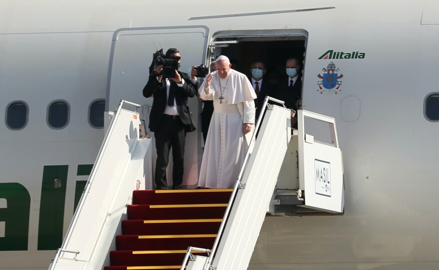 Pope Francis leaves Iraq Monday after his four-day visit to the country, a first for the papacy. President Biden said the pope and his trip set an example for the entire world.