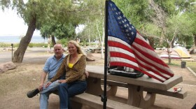 Aulikka Fried and William Banister of Las Vegas planned to spend the month camping at Lake Mead. They will have to find another spot if the federal government shuts down.