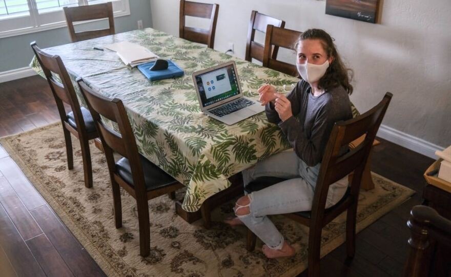 Canyon Hills High School Junior Kate Chasin prepares for a Zoom lecture in her home in San Diego, March 2021.