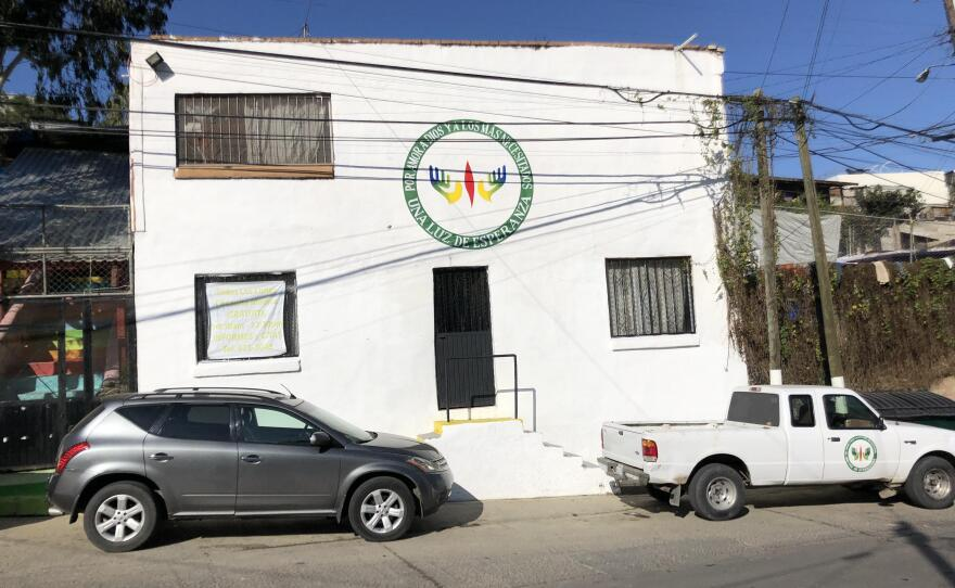 The outside of the learning space for migrant children in Tijuana is pictured, Jan 27, 2020.