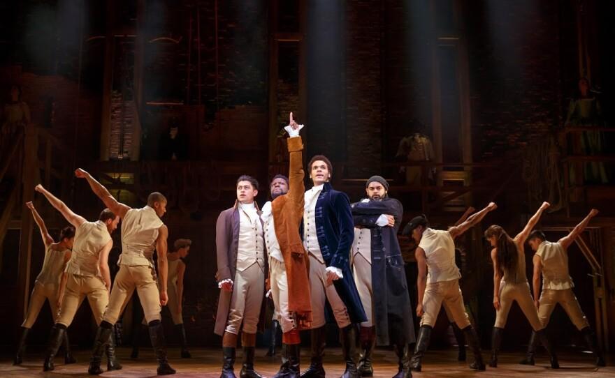 "A photo of ""Hamilton"" cast members (from left)  Ruben J. Carbajal, Michael Luwoye, Jordan Donica and Mathenee Treco."