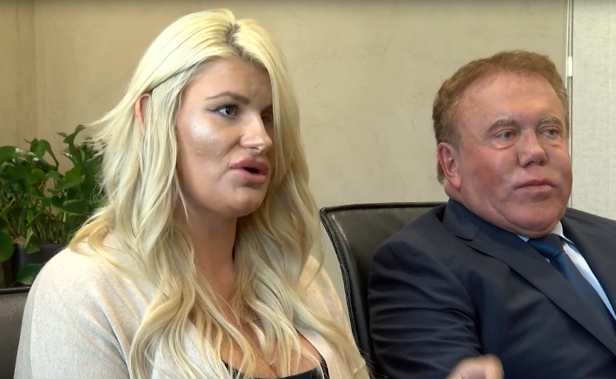 Chelsea Romo, who lost an eye in the Las Vegas Massacre shooting, sits next to her attorney, James Frantz, at a news conference, Oct. 3, 2019.