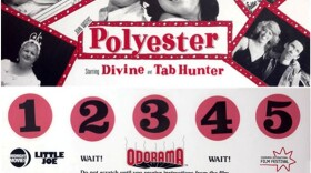 """A sample of what the Odorama scratch 'n' sniff card for """"Polyester"""" looks like."""
