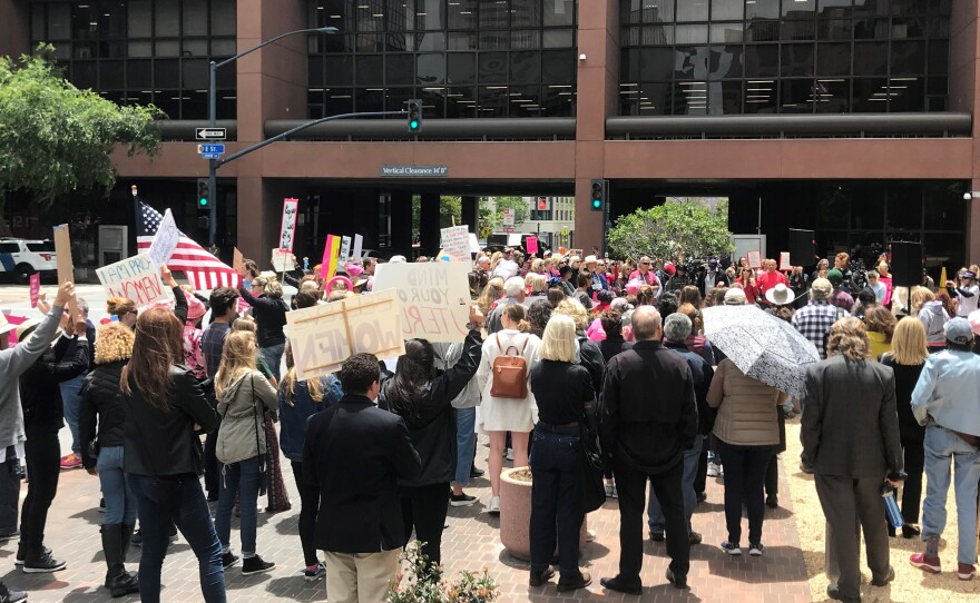 Abortion rights supporters rally in front of the San Diego federal courthouse as part of a nationwide #StopTheBans demonstration, May 21, 2019