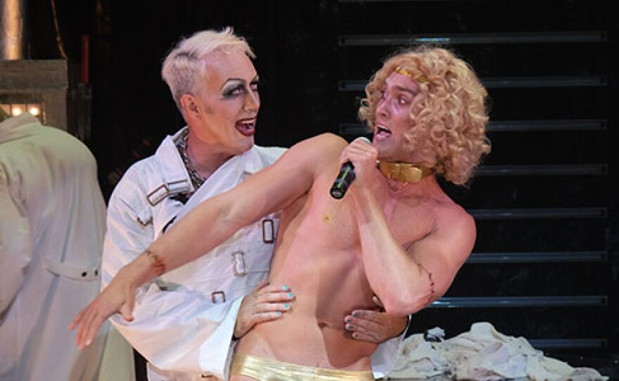 "Dr. Frank-N-Furter (Sean Murray) creates a man (Dan Hansen) in Cygnet Theatre's ""The Rocky Horror Show."""