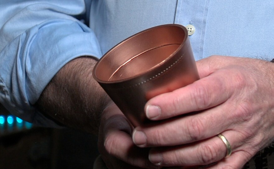 "The plastic ""copper"" cup."