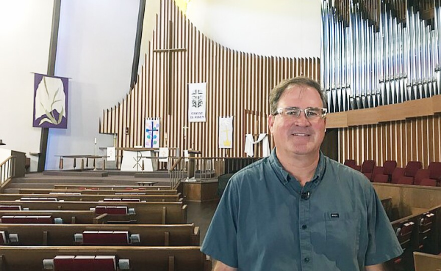 Pastor Jon Doolittle stands in the sanctuary of Clairemont Luterhan Church, May 28, 2019.