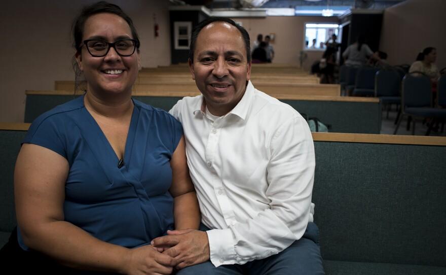 Bridget and Eduardo Bohorquez pose for a portrait within the Apostolic Assembly of the Faith in Christ Jesus church in Tijuana on Sept. 9, 2017, where Eduardo works as a pastor.