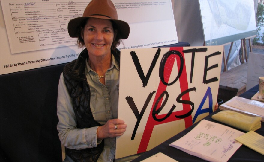 """Catherine Miller at the """"Yes on A"""" tent in Carlsbad, Feb. 12, 2016."""