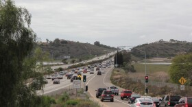 Northbound traffic on Interstate 5 at La Costa Avenue, Carlsbad, May 2016.