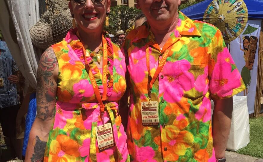 Sarah Franko and Bobby Franko, from San Francisco, pose for a photo at Tiki Oasis, Aug. 12, 2017.
